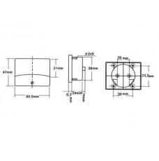 ANALOGE PANEELMETER VOOR DC STROOMMETINGEN 100mA DC / 60 x 47mm