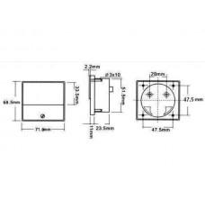 ANALOGE PANEELMETER VOOR DC STROOMMETINGEN 15A DC / 70 x 60mm