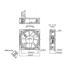 SUNON VENTILATOR 230VAC GLIJLAGER 120 x 120 x 25mm