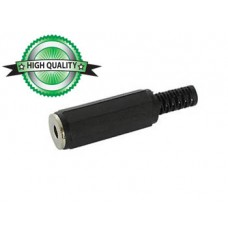 VROUWELIJKE 3.5mm MONO JACK - ZWART PLASTIC