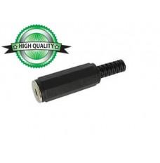 VROUWELIJKE 3.5mm STEREO JACK - ZWART PLASTIC