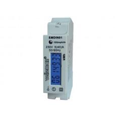 EENFASIGE kWh-METER VOOR DIN-RAIL MONTAGE - 1 MODULE