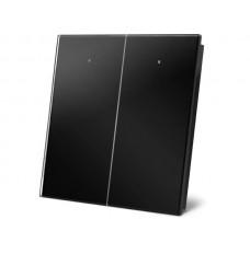 zwarte glazen bedieningsmodule met 2 aanraaktoetsen