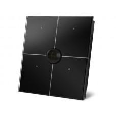 zwarte glazen bedieningsmodule met 4 aanraaktoetsen en ingebouwde bewegings- en schemersensor