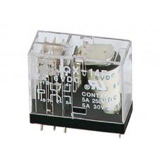 VERTICAAL RELAIS 5A/30VDC-220VAC 2 x WISSEL 12Vdc