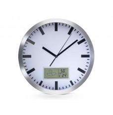 ALUMINIUM WANDKLOK MET LCD-DISPLAY EN THERMOMETER, HYGROMETER & WEERSVOORSPELLING - Ø 25 cm